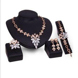 Rhinestone Necklace, Earrings, bracelet & Ring